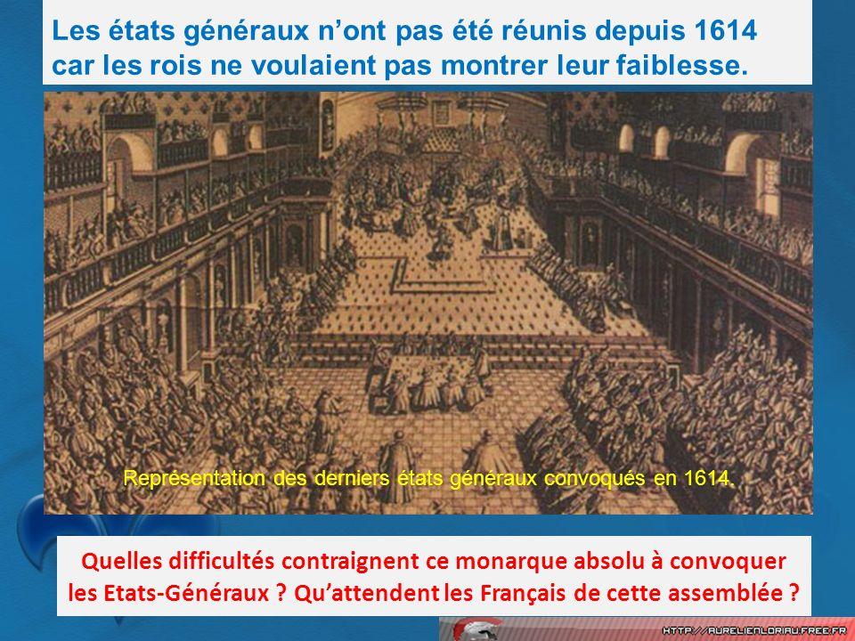 Les états généraux nont pas été réunis depuis 1614 car les rois ne voulaient pas montrer leur faiblesse. Quelles difficultés contraignent ce monarque