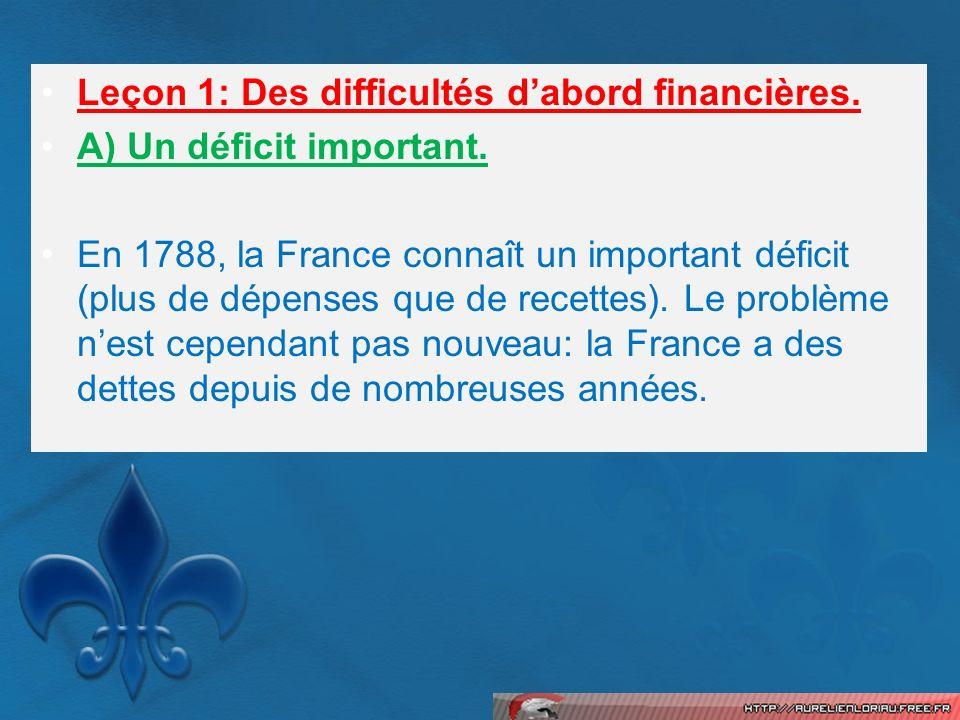 Leçon 1: Des difficultés dabord financières. A) Un déficit important. En 1788, la France connaît un important déficit (plus de dépenses que de recette