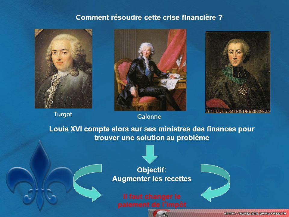 Comment résoudre cette crise financière ? Turgot Calonne Louis XVI compte alors sur ses ministres des finances pour trouver une solution au problème O