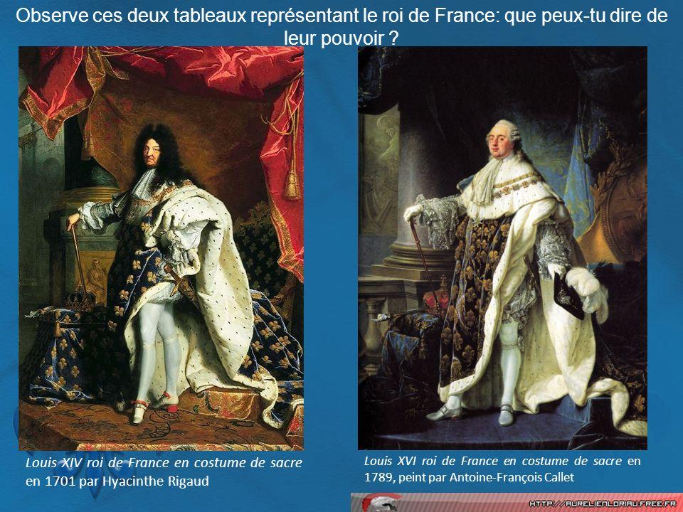 Louis XVI roi de France en costume de sacre en 1789, peint par Antoine-François Callet Louis XIV roi de France en costume de sacre en 1701 par Hyacint