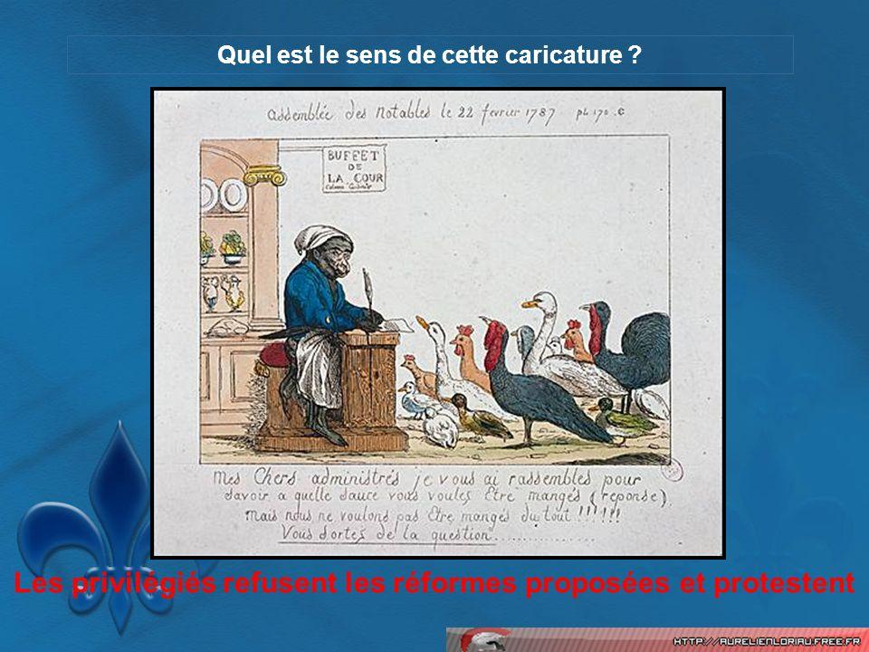 Quel est le sens de cette caricature ? Les privilégiés refusent les réformes proposées et protestent