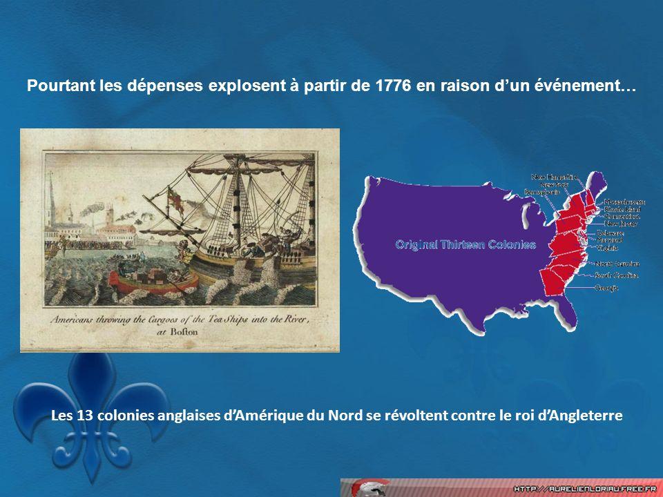 Pourtant les dépenses explosent à partir de 1776 en raison dun événement… Les 13 colonies anglaises dAmérique du Nord se révoltent contre le roi dAngl