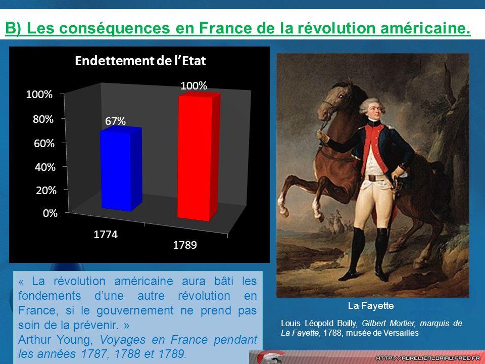 B) Les conséquences en France de la révolution américaine. « La révolution américaine aura bâti les fondements dune autre révolution en France, si le