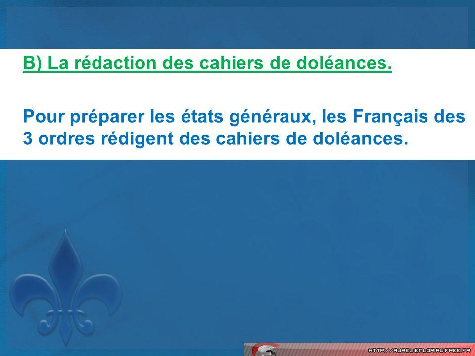 B) La rédaction des cahiers de doléances. Pour préparer les états généraux, les Français des 3 ordres rédigent des cahiers de doléances.