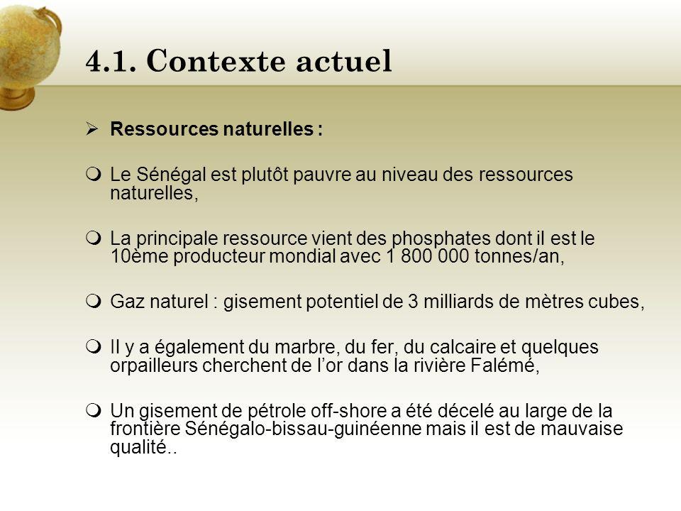 4.1. Contexte actuel Atouts Récent développement dans le domaine des télécommunications avec la SONATEL, Grand producteur de coton de qualité, de text