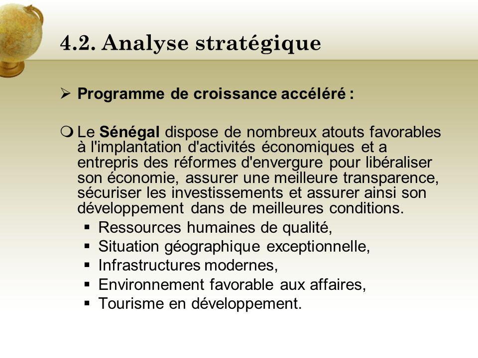 4.1. Contexte actuel Ressources naturelles : Le Sénégal est plutôt pauvre au niveau des ressources naturelles, La principale ressource vient des phosp