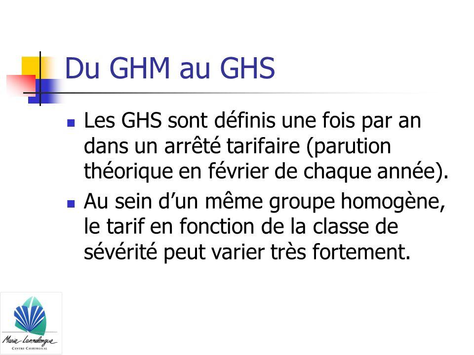 Du GHM au GHS Les GHS sont définis une fois par an dans un arrêté tarifaire (parution théorique en février de chaque année). Au sein dun même groupe h