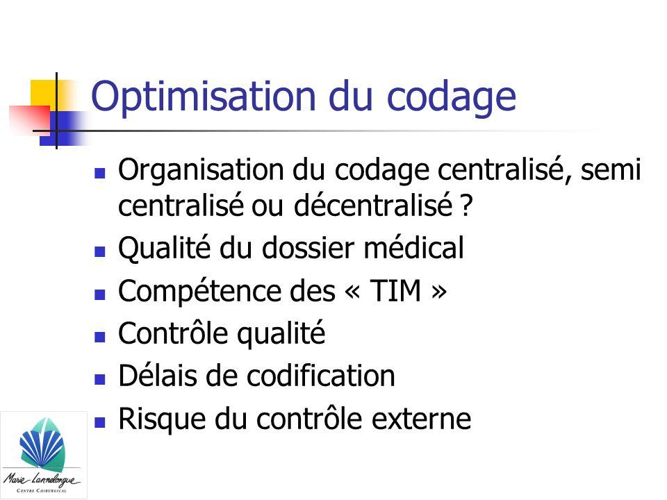 Optimisation du codage Organisation du codage centralisé, semi centralisé ou décentralisé ? Qualité du dossier médical Compétence des « TIM » Contrôle
