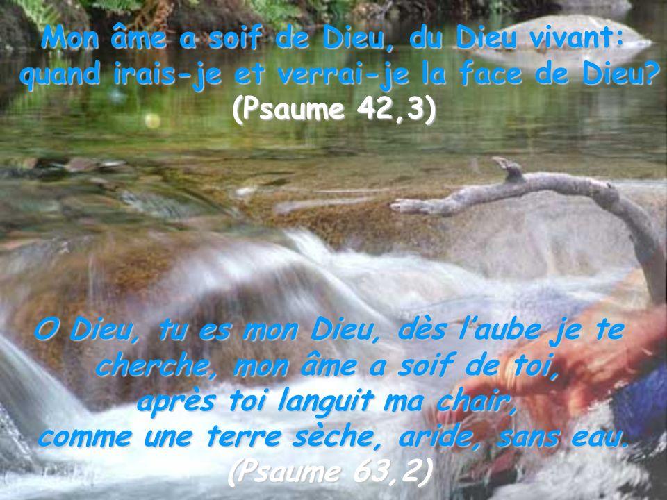 Mon âme a soif de Dieu, du Dieu vivant: quand irais-je et verrai-je la face de Dieu? (Psaume 42,3) O Dieu, tu es mon Dieu, dès laube je te cherche, mo