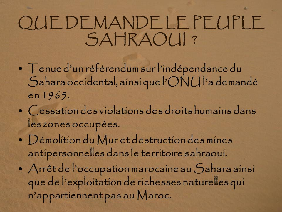 JOUE EN FAVEUR DU PEUPLE SAHRAOUI 80% de la population espagnole est favorable à la juste cause sahraouie Le peuple sahraoui se cantonne depuis 1991 à une lutte pacifique et démocratique, alors que le Maroc ne respecte pas larmistice et continue à utiliser des armes antipersonnelles de fabrication espagnole, 10 ans après la conclusion du traité les interdisant (Le Maroc se classe en deuxième position des pays qui méprisent les résolutions de lONU) Le traité de Genève interdisant la fabrication de mines antipersonnelles et exigeant le déminage parle pour lui.
