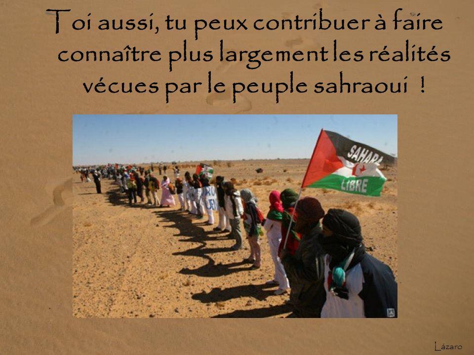 QUI PEUT CHANGER LES CHOSES ? Une pression internationale peut changer le sort du peuple sahraoui. Informer les populations est désormais la tâche la