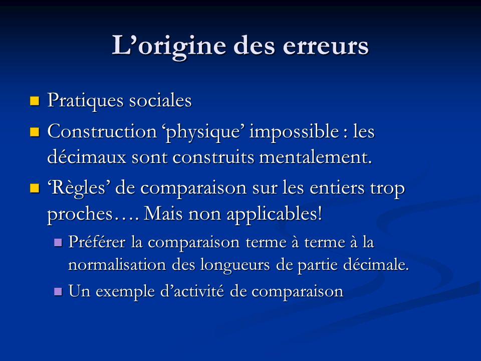 Lorigine des erreurs Pratiques sociales Pratiques sociales Construction physique impossible : les décimaux sont construits mentalement. Construction p