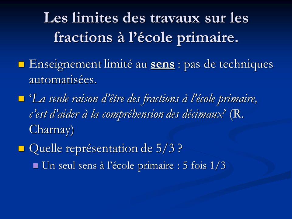 Les limites des travaux sur les fractions à lécole primaire. Enseignement limité au sens : pas de techniques automatisées. Enseignement limité au sens