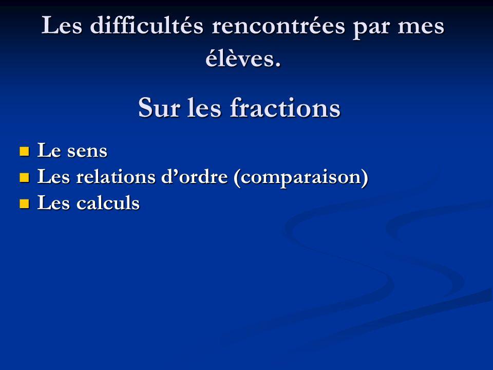 Les difficultés rencontrées par mes élèves. Sur les fractions Le sens Le sens Les relations dordre (comparaison) Les relations dordre (comparaison) Le