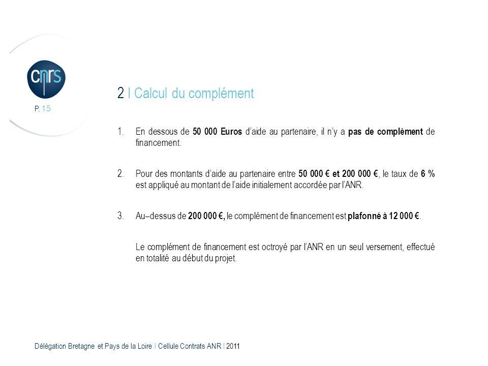 Délégation Bretagne et Pays de la Loire l Cellule Contrats ANR l 2011 P. 15 1.En dessous de 50 000 Euros daide au partenaire, il ny a pas de complémen