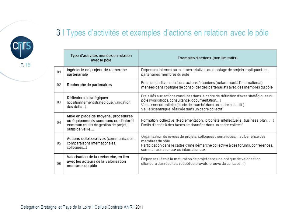 Délégation Bretagne et Pays de la Loire l Cellule Contrats ANR l 2011 P. 16 Type d'activités menées en relation avec le pôle Exemples d'actions (non l