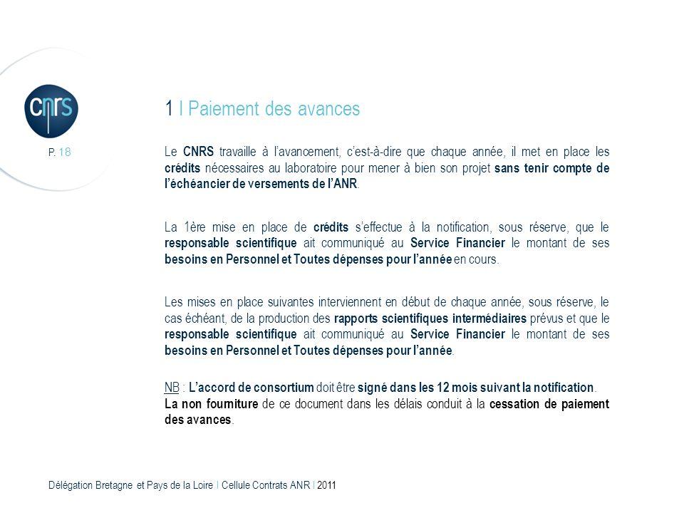 Délégation Bretagne et Pays de la Loire l Cellule Contrats ANR l 2011 P. 18 1 I Paiement des avances Le CNRS travaille à lavancement, cest-à-dire que