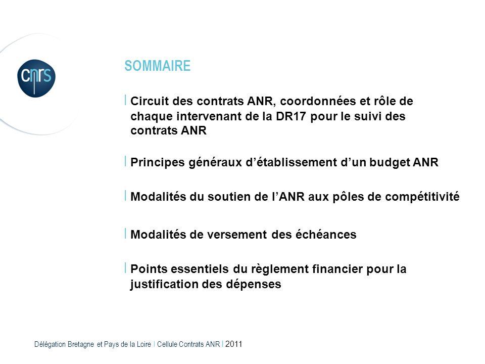 Délégation Bretagne et Pays de la Loire l Cellule Contrats ANR l 2011 I Circuit des contrats ANR, coordonnées et rôle de chaque intervenant de la DR17