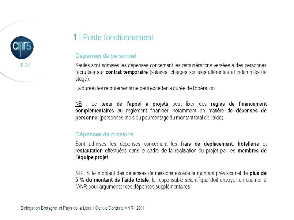 Délégation Bretagne et Pays de la Loire l Cellule Contrats ANR l 2011 P. 21 1 I Poste fonctionnement Dépenses de personnel Seules sont admises les dép