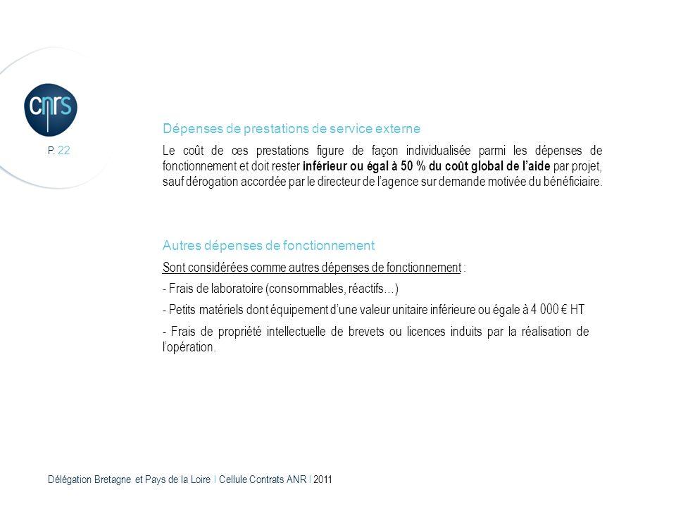 Délégation Bretagne et Pays de la Loire l Cellule Contrats ANR l 2011 P. 22 Dépenses de prestations de service externe Le coût de ces prestations figu