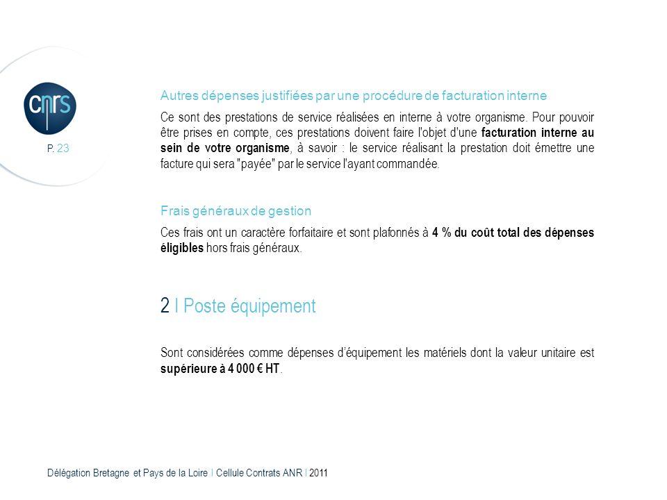 Délégation Bretagne et Pays de la Loire l Cellule Contrats ANR l 2011 P. 23 Frais généraux de gestion Ces frais ont un caractère forfaitaire et sont p