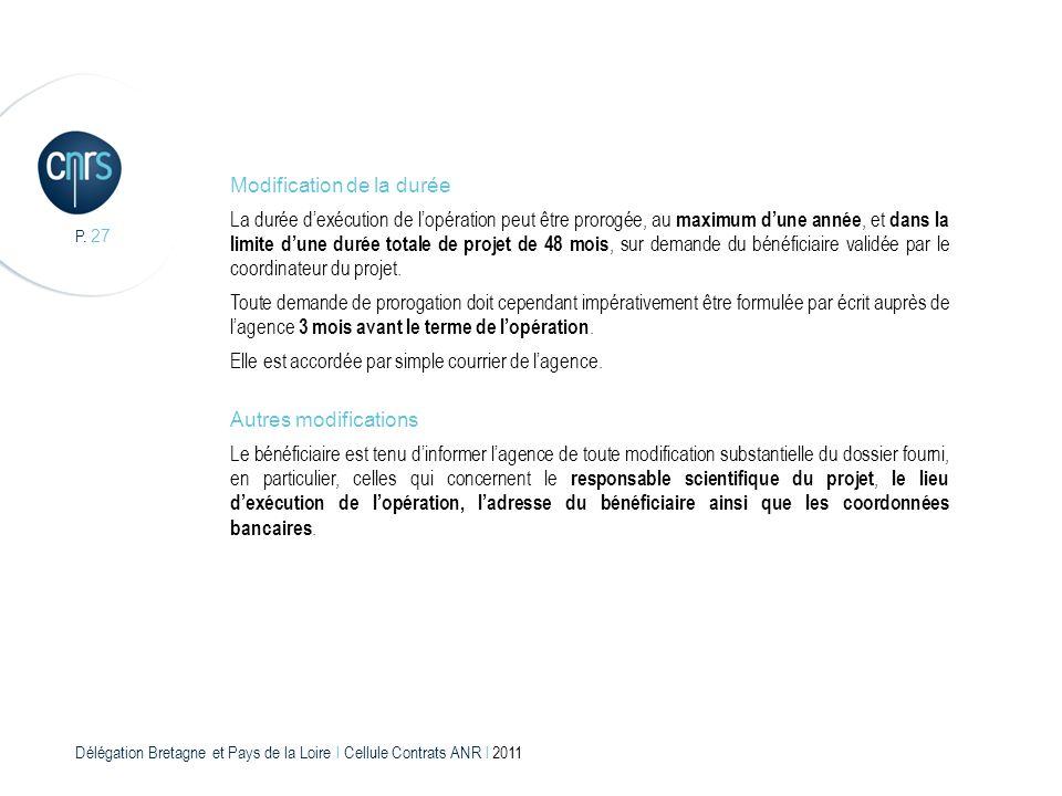Délégation Bretagne et Pays de la Loire l Cellule Contrats ANR l 2011 P. 27 Modification de la durée La durée dexécution de lopération peut être proro
