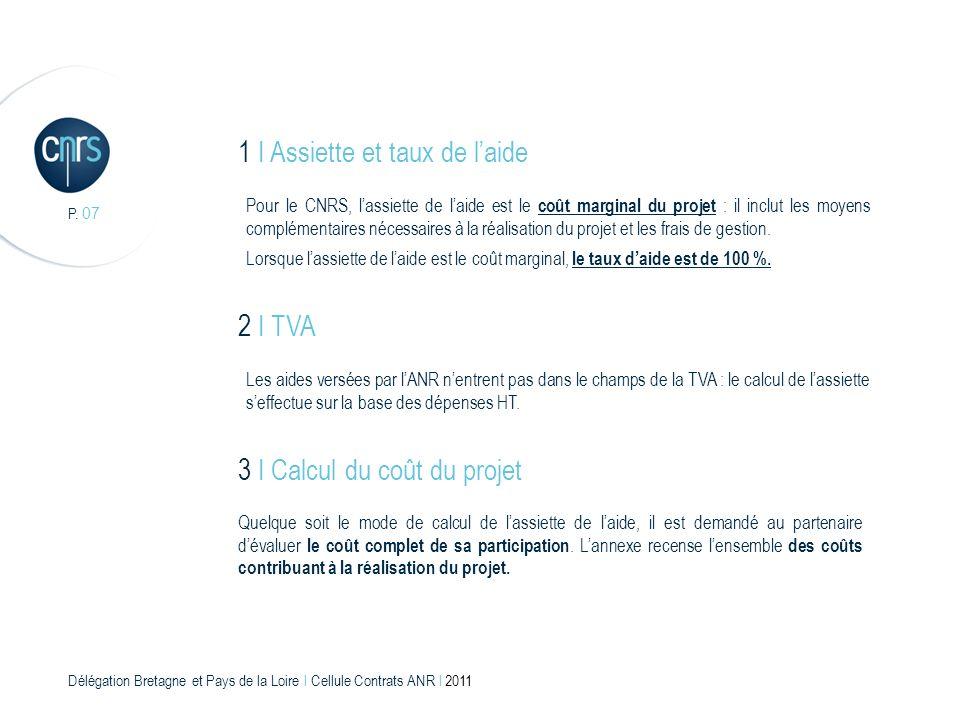 Délégation Bretagne et Pays de la Loire l Cellule Contrats ANR l 2011 P. 07 1 I Assiette et taux de laide Pour le CNRS, lassiette de laide est le coût