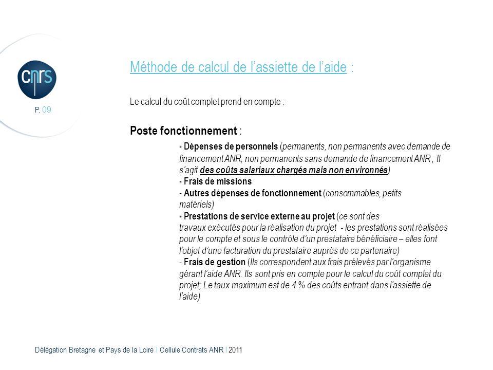 Délégation Bretagne et Pays de la Loire l Cellule Contrats ANR l 2011 P. 09 Méthode de calcul de lassiette de laide : Le calcul du coût complet prend