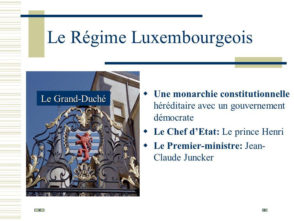 Le Régime Luxembourgeois Une monarchie constitutionnelle héréditaire avec un gouvernement démocrate Le Chef dEtat: Le prince Henri Le Premier-ministre