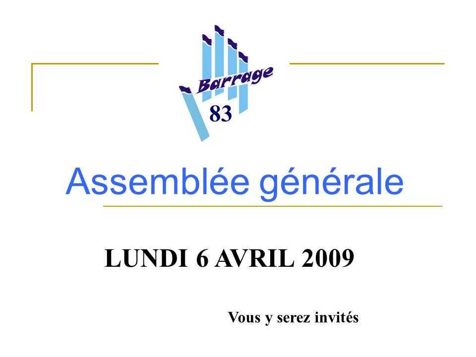 Assemblée générale 83 LUNDI 6 AVRIL 2009 Vous y serez invités
