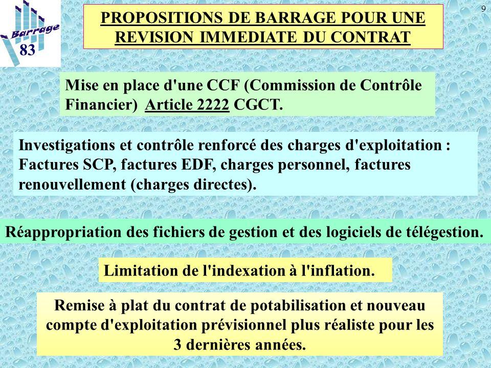 9 Remise à plat du contrat de potabilisation et nouveau compte d'exploitation prévisionnel plus réaliste pour les 3 dernières années. 83 PROPOSITIONS