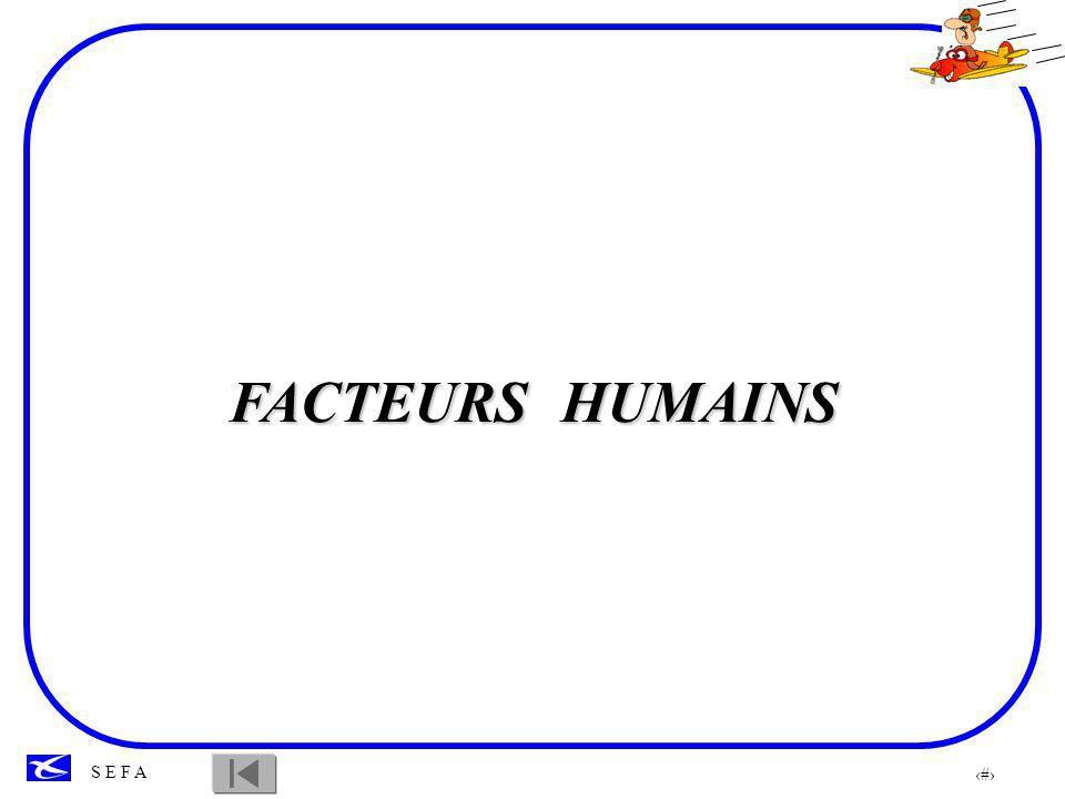 2 S E F A INTRODUCTION L étude des FACTEURS HUMAINS met en évidence: Les capacités et les qualités des individus Les limites de l être humain Elle va permettre d optimiser les performances d apprentissage.