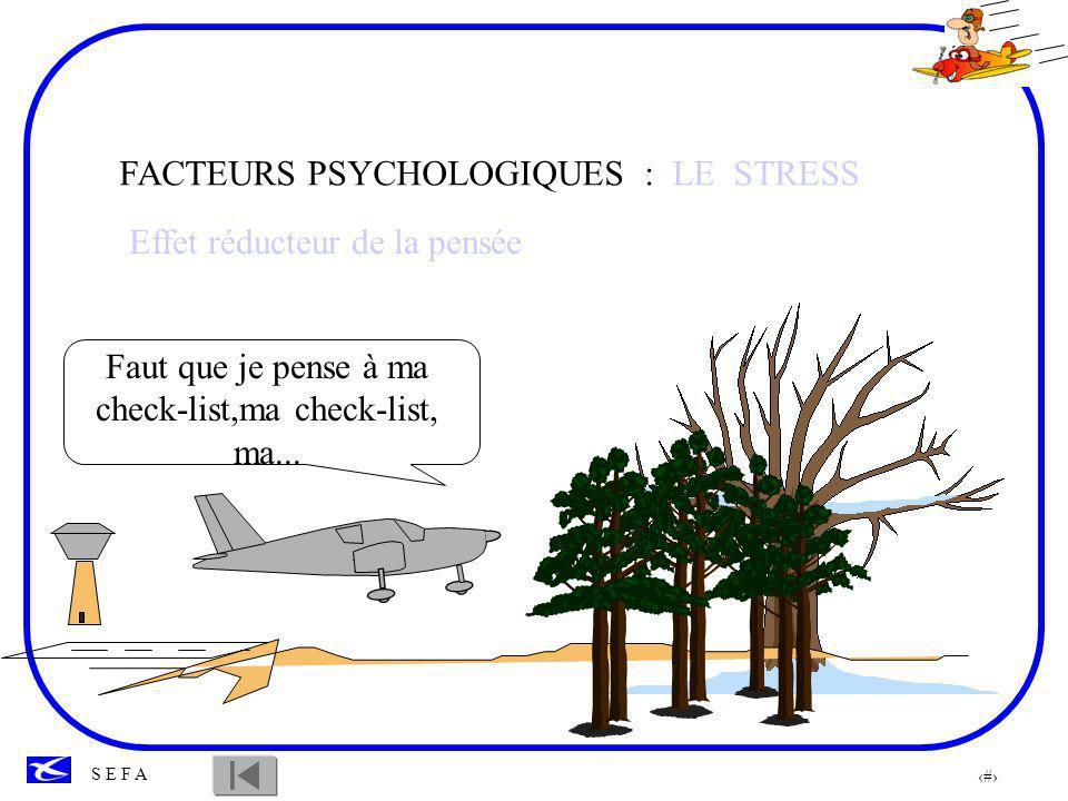35 S E F A F-FA solo, autorisé au complet Effet de régression, FACTEURS PSYCHOLOGIQUES : LE STRESS