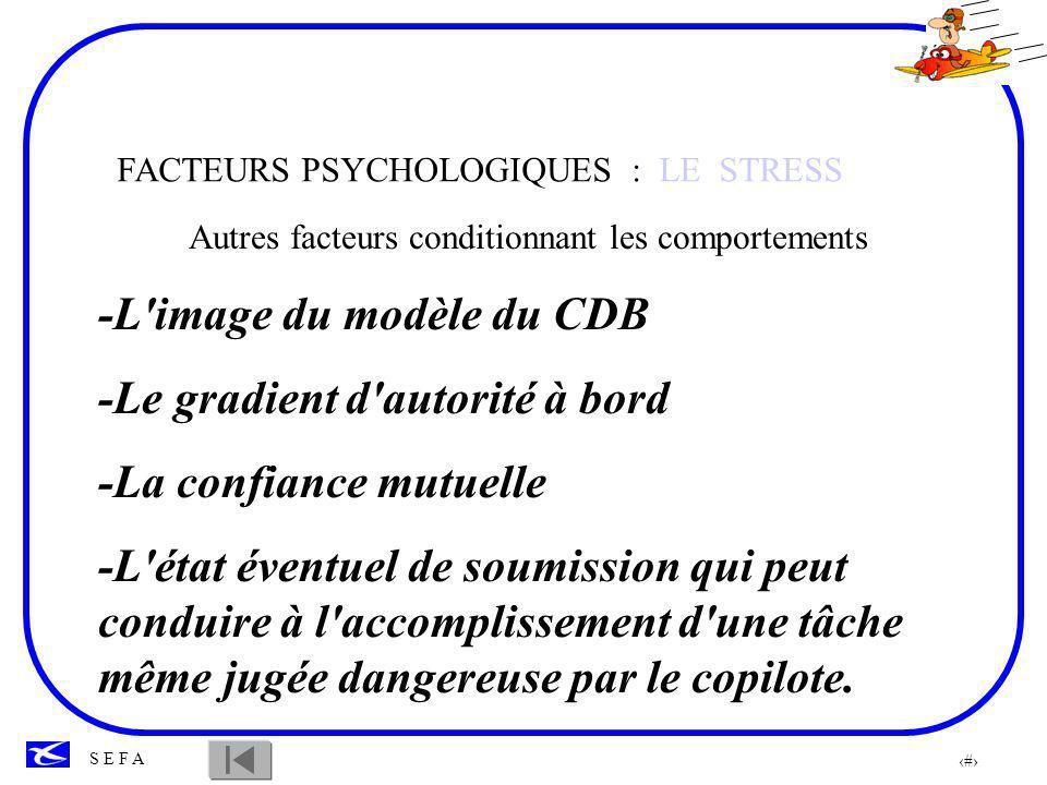 39 S E F A FACTEURS PSYCHOLOGIQUES: LE STRESS Gérer le stress, cest ce qui nous permettra de maintenir un niveau de performance optimum.