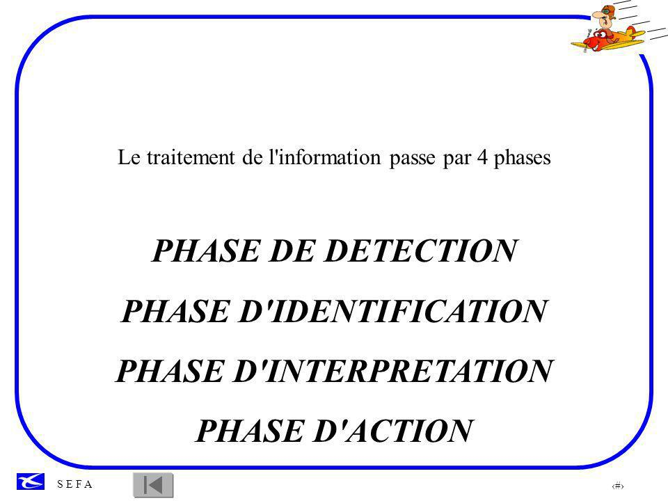 52 S E F A Le traitement de l'information passe par 4 phases PHASE DE DETECTION PHASE D'IDENTIFICATION PHASE D'INTERPRETATION PHASE D'ACTION