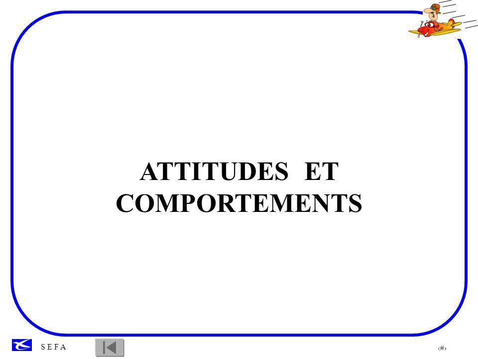 72 S E F A ATTITUDES ET COMPORTEMENTS 5 attitudes ou comportements dangereux peuvent être observés chez les pilotes : ANTI - AUTORITE IMPULSIVITE INVULNERABILITE MACHO RESIGNATION