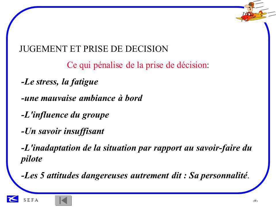 94 S E F A JUGEMENT ET PRISE DE DECISION Le danger des systèmes d aide sophistiqués En aviation légère, le danger c est de déléguer la prise de décision à un système d aide comme le G P S.