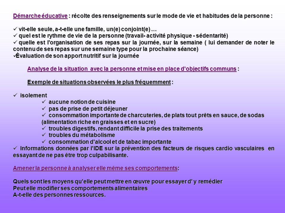 Démarche éducative : récolte des renseignements sur le mode de vie et habitudes de la personne : vit-elle seule, a-t-elle une famille, un(e) conjoint(