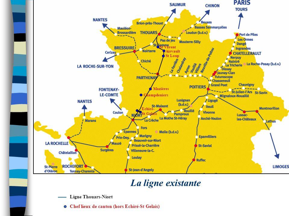 St Varent Airvault St Loup Mazières Champdeniers Echiré- St Gelais La ligne existante Chef lieux de canton (hors Echiré-St Gelais) Ligne Thouars-Niort