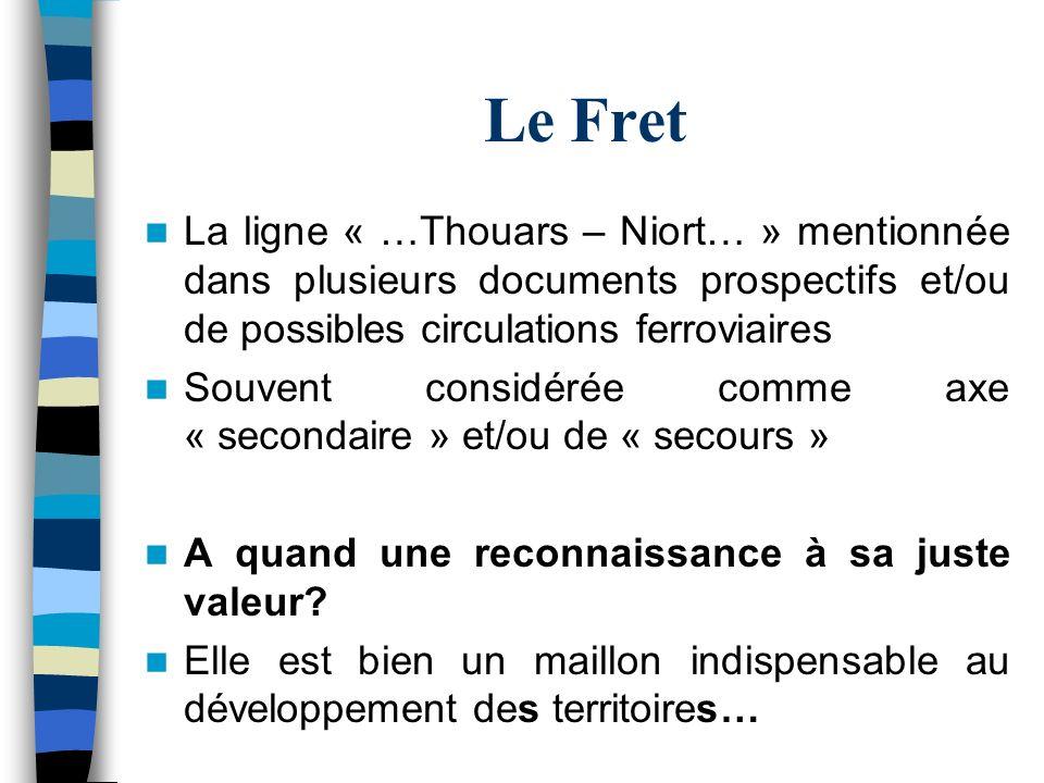 Le Fret La ligne « …Thouars – Niort… » mentionnée dans plusieurs documents prospectifs et/ou de possibles circulations ferroviaires Souvent considérée
