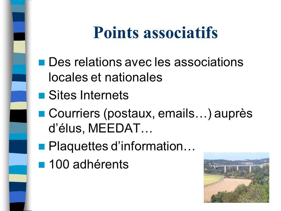 Points associatifs Des relations avec les associations locales et nationales Sites Internets Courriers (postaux, emails…) auprès délus, MEEDAT… Plaque