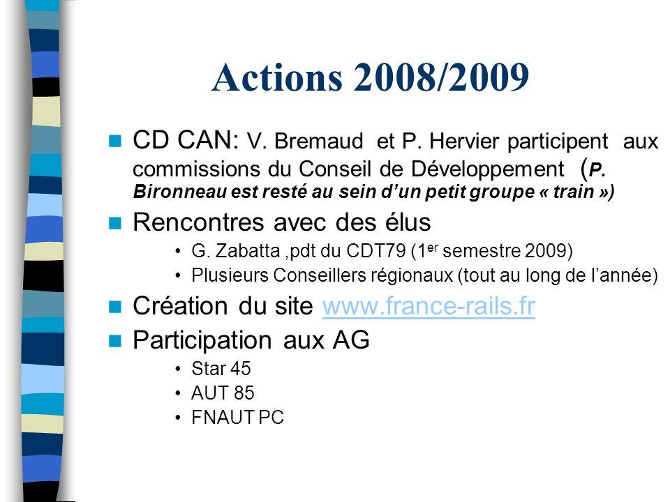 Actions 2007/2008 Plateforme multimodale à « Niort » Le syndicat est constitué La CCI79 vante les qualités de la base en Europe Rencontres encore et toujours Mme La Préfète Conseil de Développement de La Rochelle … Comité de ligne Nord Deux-Sèvres J Dailly y participa Etude Thouars – Parthenay - Niort …