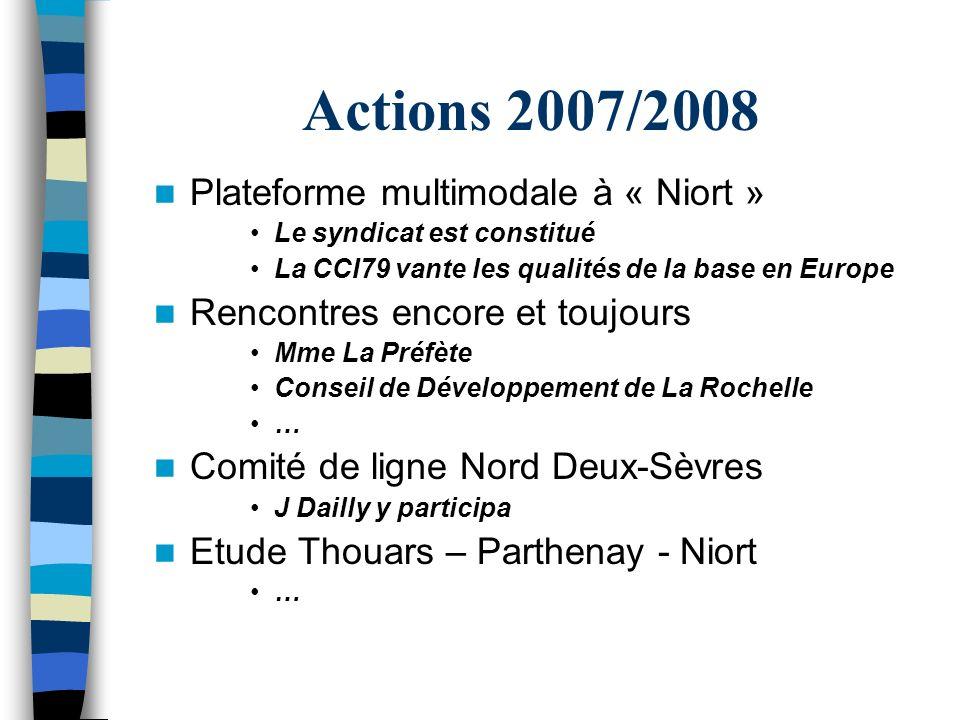Actions 2007/2008 Plateforme multimodale à « Niort » Le syndicat est constitué La CCI79 vante les qualités de la base en Europe Rencontres encore et t