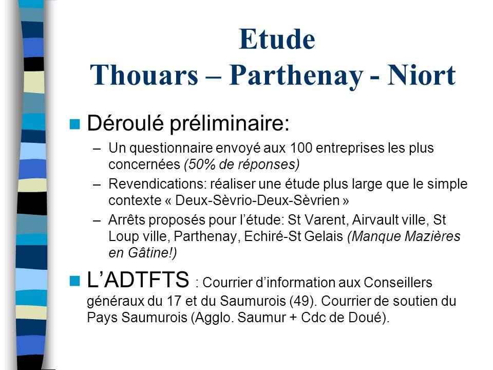 Etude Thouars – Parthenay - Niort Déroulé préliminaire: –Un questionnaire envoyé aux 100 entreprises les plus concernées (50% de réponses) –Revendicat