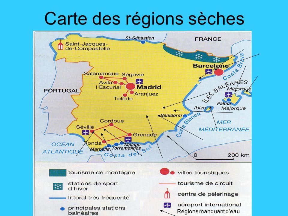 Carte des régions sèches Régions manquant deau