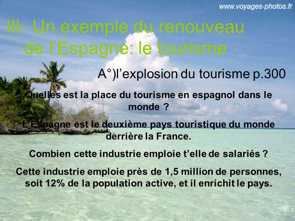 III- Un exemple du renouveau de lEspagne: le tourisme A°)lexplosion du tourisme p.300 Quelles est la place du tourisme en espagnol dans le monde .