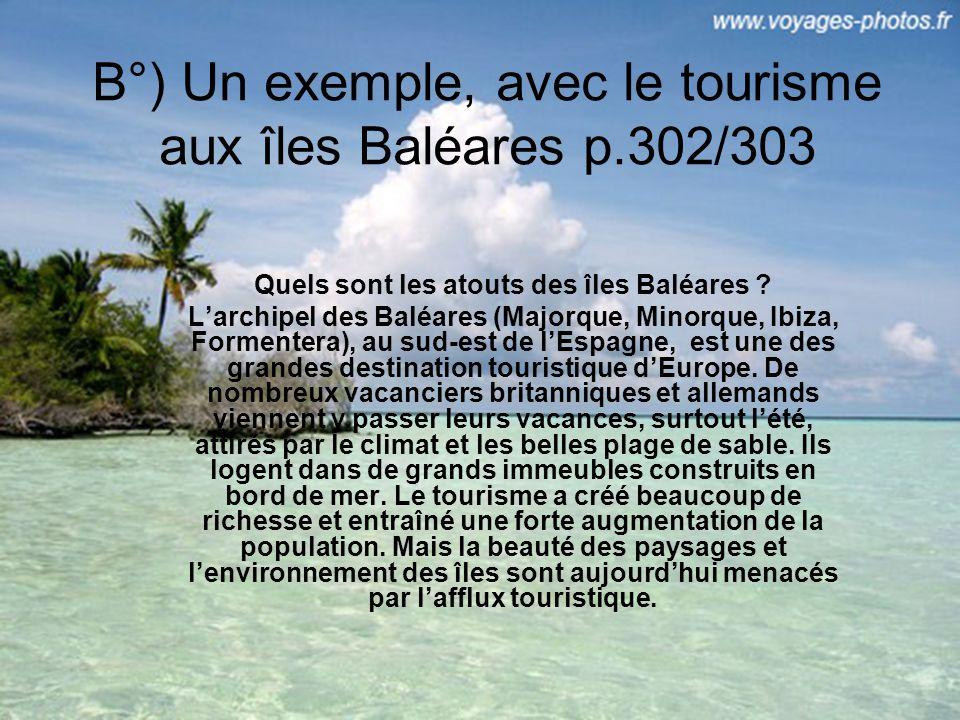 B°) Un exemple, avec le tourisme aux îles Baléares p.302/303 Quels sont les atouts des îles Baléares .