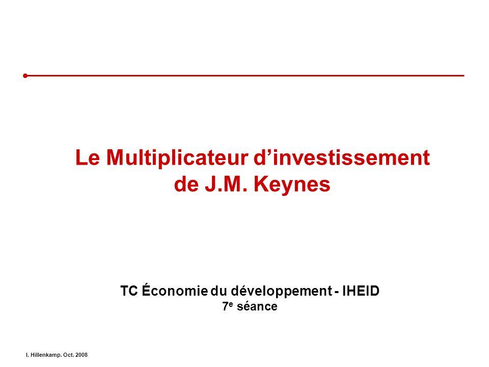 I. Hillenkamp. Oct. 2008 Le Multiplicateur dinvestissement de J.M. Keynes TC Économie du développement - IHEID 7 e séance