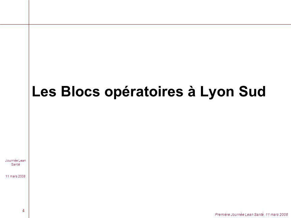 Journée Lean Santé 11 mars 2008 Première Journée Lean Santé, 11 mars 2008 4 Les Blocs opératoires à Lyon Sud