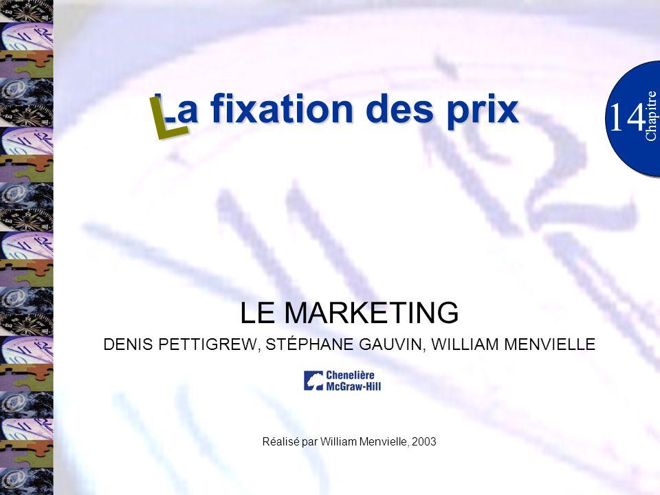 La fixation des prix 14 Chapitre LE MARKETING DENIS PETTIGREW, STÉPHANE GAUVIN, WILLIAM MENVIELLE Réalisé par William Menvielle, 2003 L